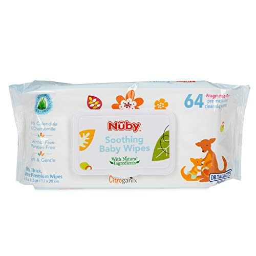 Dr. Talbot's Soothing Baby Wipes Naturally Inspired with Chamomile Aloe and Citroganix (Fragrance Free/Extra Thick…