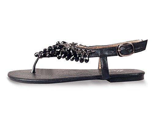 las Mujer Sandalias De Bohemia Zapatos De Hebilla Dedo Del Pie Del Clip Sandalias Playa Chancletas Negro