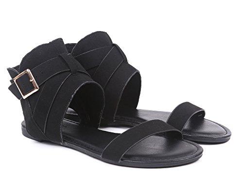 Scarpe Donna Sandali Scarpe Aperte Apertura Fibbia Regolazione Cerniera Finta Pelle Scamosciata Ammortizzata Nero