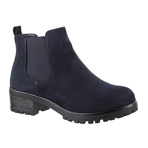 Elara Chelsea Boots | Bequeme Damen Stiefeletten | Profilsohle Blockabsatz Navy