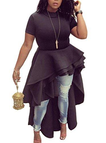 (Memorose Womens Ruffle High Low Asymmetrical Short Sleeve Bodycon Tops Blouse Shirt Dress Black 2XL)