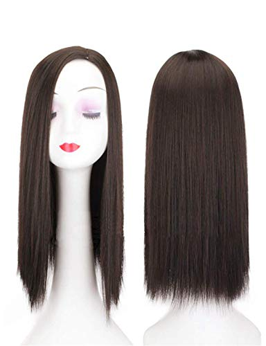 """20"""" Long Straight Hair Toppers for Women with Left Parting, Clip in Top Hairpieces for Thinning Hair, Dark Brown"""