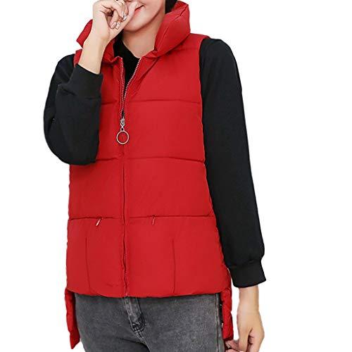 (AOJIAN Women Jacket Sleeveless Outwear Vest Slim Stand Collar Puffer Pure Color Zipper Coat Red)