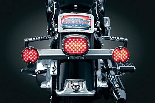 (Kuryakyn 5436 Motorcycle Lighting: Low Profile LED Taillight Conversion Kit with License Plate Illumination Light for 1988-2019 Harley-Davidson Motorcycles, Red Lens)