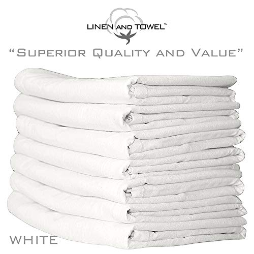 Linen and Towel Cotton Kitchen Napkin Flour Sack Towel in White, 33 inch x 38 inch, Set of 7