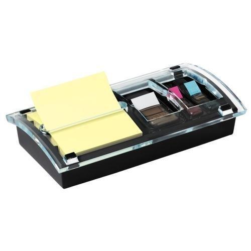 DS100 3M Post-it Designer Combo Dispenser - 3'' x 3'', 1'' - Holds 100 Sheet of Note, 15 Sheet of Flag - Black, Translucent by 3M