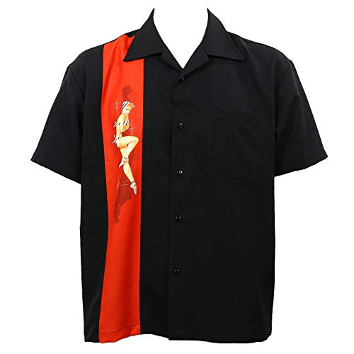 Rock Steady Black Pinup Girl Bowling Camp Lounge Shirt Retro 1950s 50s One Panel -