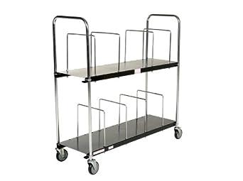 "Vestil CTC-1856-B Steel Carton Cart, 2 Tiers, Black, 400-lb. Load Capacity, 59-1/8"" x 19-13/16"" x 56-1/2"""