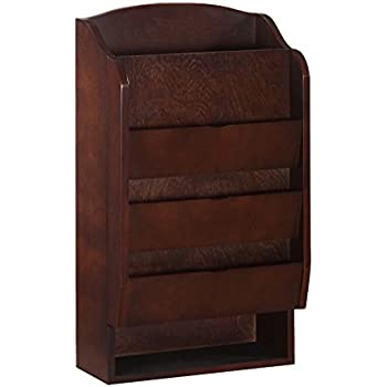 Door Entry Organizer with Mail Sorter in Mahogany