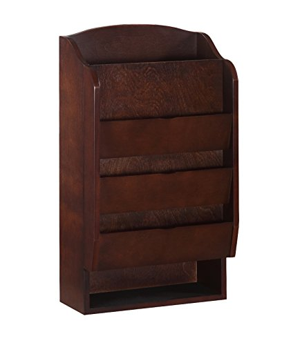 Door Entry Organizer with Mail Sorter in Mahogany Mahogany Wall Magazine Holder