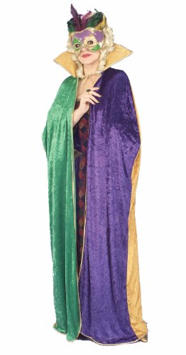 Birthday Gras Invitations Mardi (Forum Full Length Mardi Gras Cape, Green/Gold/Purple, Adult)