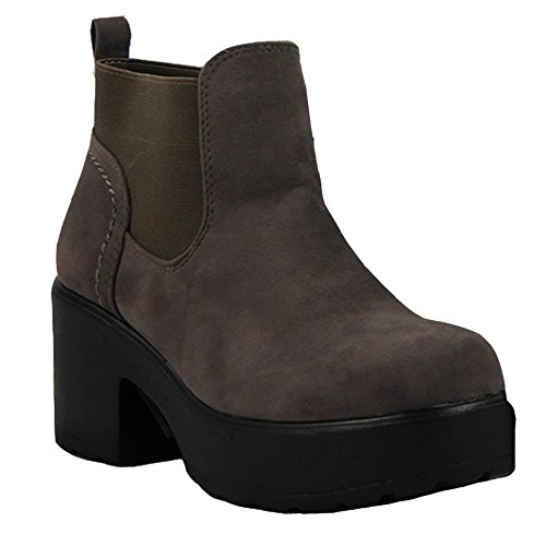 Womens Ladies Girls Mid Heel Block Chunky Platform Chelsea Ankle Boots Shoes Size 3-8 Grey Suede qmaUg