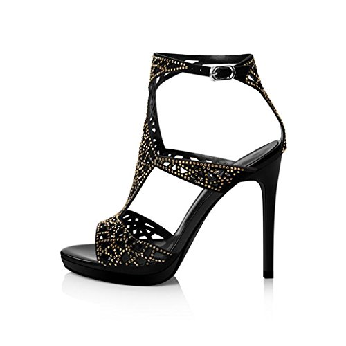 Black Fashion High Heels Heels Thin Sandals Heeled Rhinestone Toe CJC Sexy Open Suede High PwwOB6qp