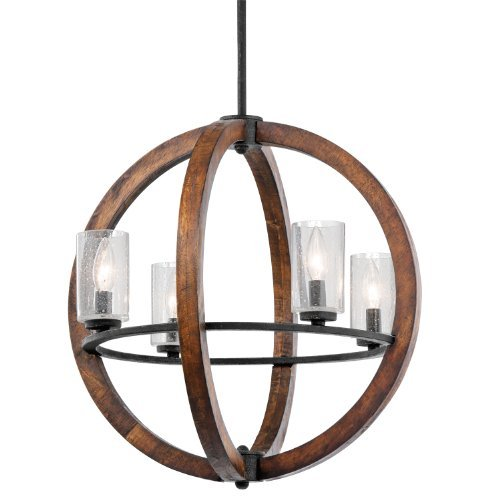 43185AUB Grand Bank 4LT Pendant, Auburn Stained Finish with Clear Seedy Glass Shades by Kichler Lighting - Auburn Stained Glass