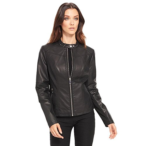 Black Rivet Womens Moto Mock Collar Fauxleather Jacket S Black Black Rivet Leather Jacket