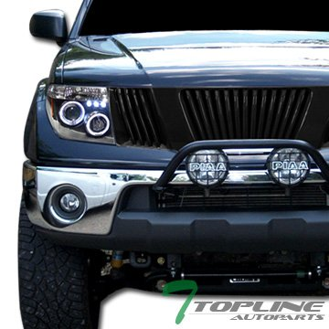 Topline Autopart Black Vertical Front Hood Bumper Grill Grille ABS For 05-08 Frontier 05-07 Pathfinder