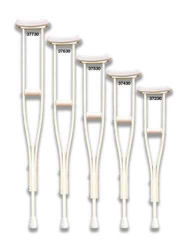 Crutches - Med/Adult Laminated wood crutches with accessories attached are shrink wrapped and include one pair each of arm cushions, closed hand grips and size #50001 crutch tips, assembled. Recommended patient height for med/adult size is 4