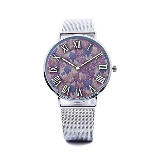 Unisex Fashion Watch Purple Iris Flower Spring Romantic Hand-Painted Art Embroidery Print Dial Quartz Stainless Steel Wrist Watch with Steel Strap Watchband for Women/Men 36mm&40mm Casual Watch