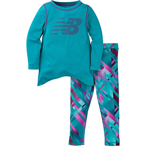 New Balance Baby Girls Long Sleeve Top and Print Tight Set, Pisces, 24 Months
