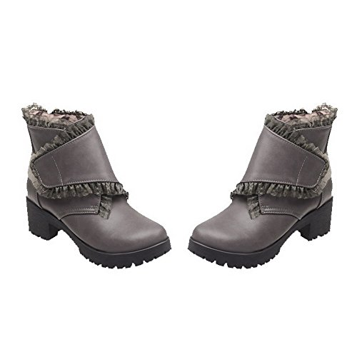Allhqfashion Womens Hook-and-loop Gilet-tacco Pu Solid Low-top Boots Grigio