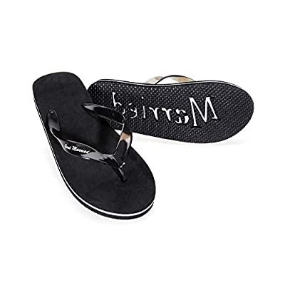 Darice VL2027 Wedding Just Married Mens Flip Flops Sandals, Black, 9-10 D(M) US Small: Home & Kitchen