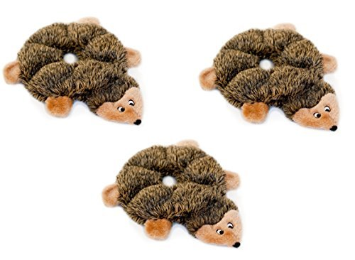 ZippyPaws Loopy 6-Squeaker Plush Dog Toy, Hedgehogs (3 Pack)