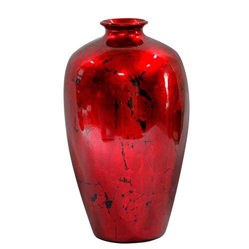 s Ruth Ceramic Decorative Water Jar Floor Vase, Distressed Red ()