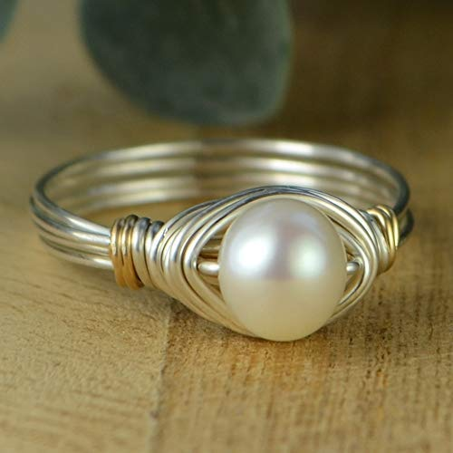 - Pearl and Two Tone Silver and Yellow or Rose Gold Filled Wire Wrapped Ring- Custom Made to Your Size 4-14