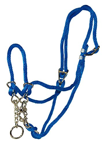 Rope Poly Halter - Hamilton Poly Rope Cow Halter with 10-Inch Chain, 3/8-Inch, Blue