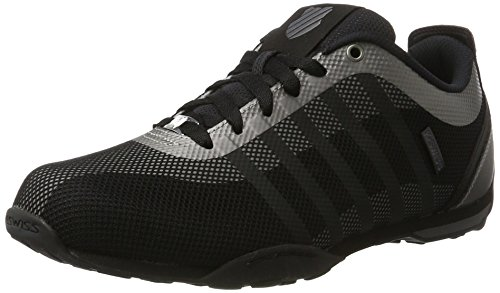 K-Swiss Men's Arvee 1.5 Tech Low-Top Sneakers, White, 8 UK Black (Blk/Chrcl/Mtllcblk)