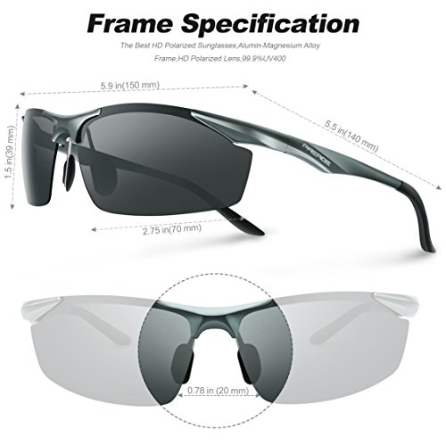 Lunettes de soleil homme Paerde - Lunettes de sport polarisées - Lunettes de conduite avec monture en métal Incassable - 100% anti UV400 Gris