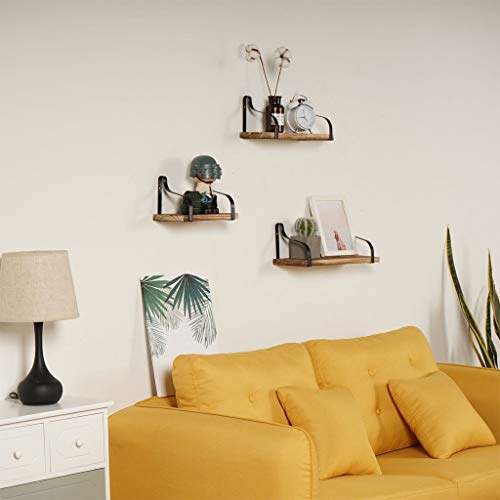 Wall Mount Floating Shelves Set of 3 Rustic Wood Accent Furniture Metal Frame Storage Shelves for Bedroom, Living Room, Bathroom, Kitchen, Office by SIN+MON【Ship from USA】 ()