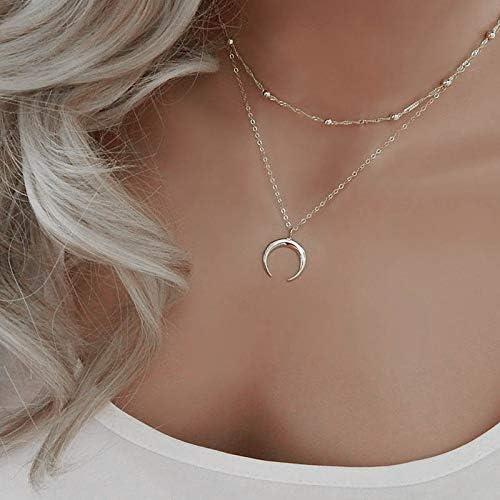 Jovono Boho Collar de varias capas con colgante de media luna para mujeres y niñas