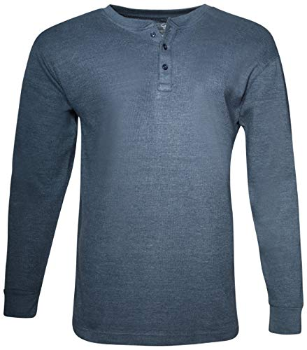 lub Men's Long Sleeve Thermal Henley Shirt, Dark Denim, Small' ()