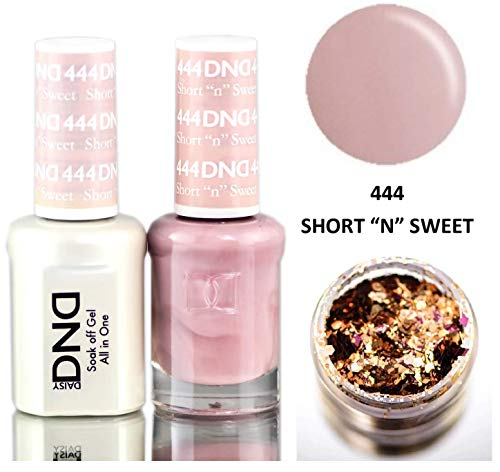 Daisy DND Neutrals Soak Off GEL POLISH DUO, All In One Gel Lacquer + Matching Nail Polish Color for Nails (with bonus side Glitter) Made in USA (Short 'N' Sweet (444))