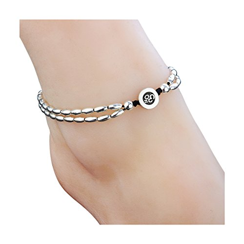 Zealmer Om Anklet Bracelet Yoga Barefoot Feet Chain Jewelry Silver Color Vintage Double Chain Anklet