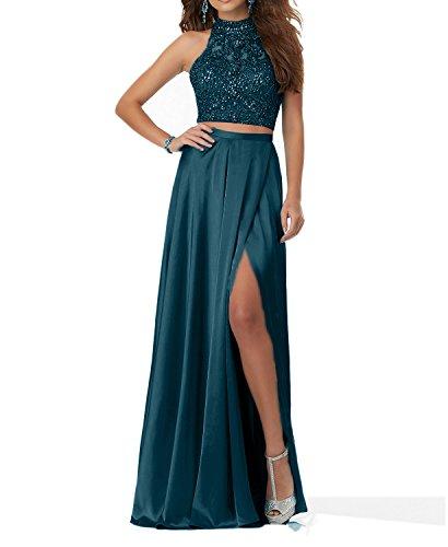 Steine Blau Langes Abendkleider Blau Zweiteilig Abschlussballkleider 2018 Charmant Promkleider Damen Tinte FaqCnw6