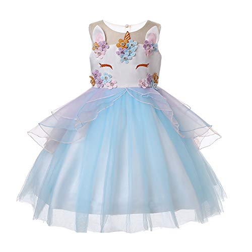 LZH Girls Unicorn Costume Dress Flower Princess Birthday Party Pageant Dress with Hairband