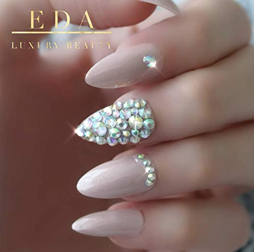 EDA LUXURY BEAUTY NUDE PINK BEIGE 3D LUXE JEWEL DESIGN Full Cover Press On Nails Acrylic Nail Kit Artificial Nail Tips Long False Nails Oval Round Pointed Almond Stiletto Nail Art Fashion Fake Nails