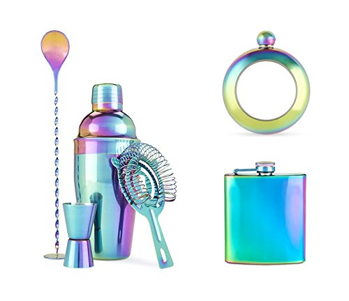 Rainbow Barware Set, Iridescent and Bracelet Flask by Blush