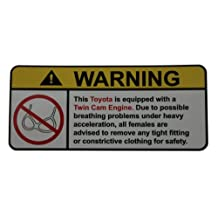 Toyota Twin Cam Engine No bra, warning decal, sticker perfect gift