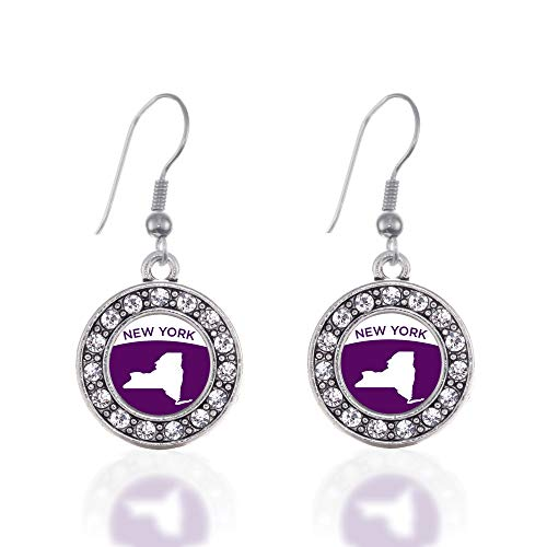 Inspired Silver - New York Outline Charm Earrings for Women - Silver Circle Charm French Hook Drop Earrings with Cubic Zirconia Jewelry