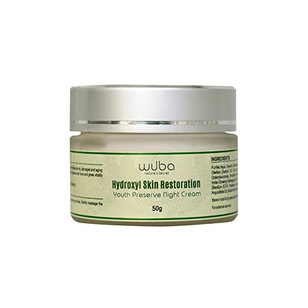 Wuba Nature's Secret Anti Aging Night Cream – 50gms 2021 August FIGHTS SIGNS OF AGEING: This Hydroxyl Skin Restoration Night Cream is made with Moringa Oil & Okra Extracts which are rich in antioxidants and have anti-inflammatory properties which helps fight skin acne while also making your dull and dry skin look healthy. DEEP MOISTURISING: Made with Shea Butter and other nourishing oils, this night cream deeply hydrates your dry and dull skin and gives it a fresh lift and a natural glow when you wake up from your beauty sleep. EVEN SKIN TONE & TEXTURE: With the benefits of Hyaluronic Acid, this night cream makes your skin flexible and repairs your damaged skin to make your skin tone even and maintain an even texture.