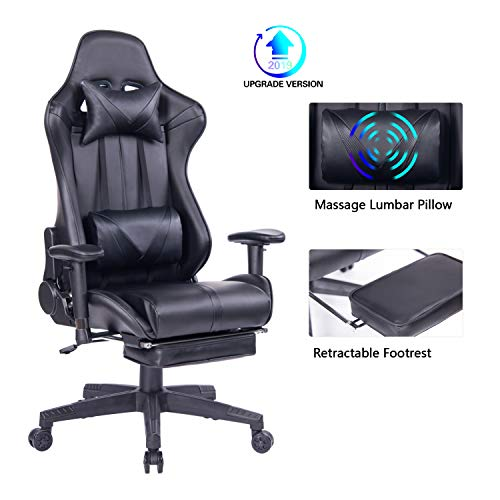 Blue Whale Gaming Chair PC Computer Chair with Footrest Ergonomic Video Game Chair High Back Racing Gamer Chair Reclining Leather Office Chair with Headrest and Lumbar Support (8192Black)