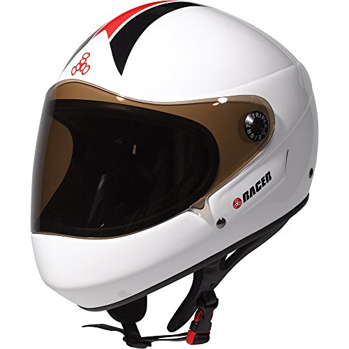 Triple Eight T8 Racer 2.0 Helmet White Gloss XS & Performance Headband Bundle ()