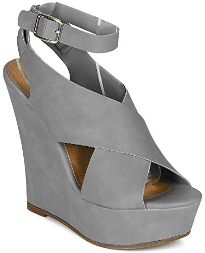 Open Toe Criss Cross Ankle Strap Platform Wedge