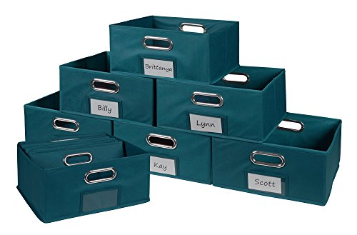 Niche Cubo Half-Size Foldable Fabric Storage Bins (Set of 12), Teal