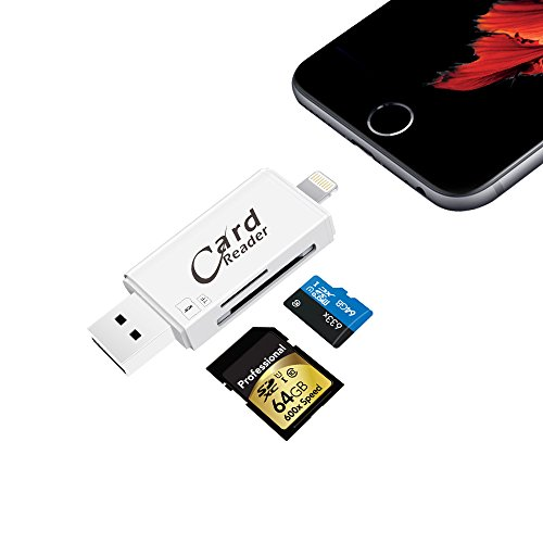 4 Gb Iphone (SD/Micro SD Card Reader With Lightning for Iphone & Ipad, Trail Game Camera Viewer with Lightning Micro USB Connector for iOS, Android, PC-Support IOS11 & 128GB Memory Cards & Iphone 8/Plus/X)