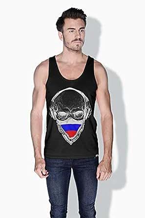 Creo Russia Skull Tanks Tops For Men - M, Black