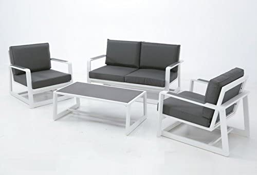 Set Bora sofa aluminio blanco textilene antracita: Amazon.es: Jardín